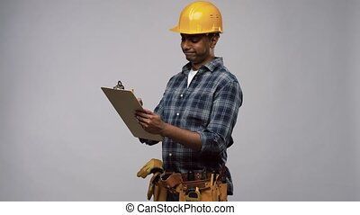 thinking builder with clipboard and pencil - profession, ...