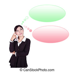 thinking business woman looking up on speech empty bubble