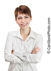 Thinking business woman smiling. Beautiful young professional isolated on white background.