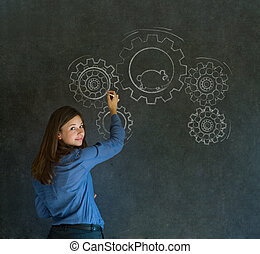 Thinking business woman with gear cogs and hamster