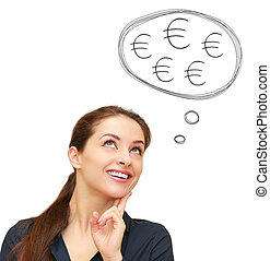 Thinking business woman with many euro signs in bubble above isolated on white background