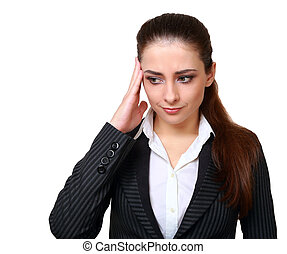 Thinking business woman with problem expression face isolated