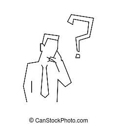 Thinking businessman line illustration on white background