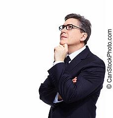 Thinking mature businessman isolated on white background