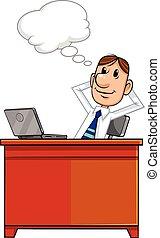 Thinking businessman with speech bu