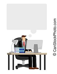 Thinking Businessman working on his computer desk with an empty speech bubble on top of his head. Concept of thinking businessman. Isolated vector illustration.