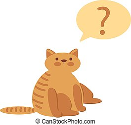 Thinking cat with questions mark above against white...