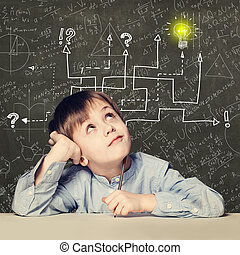 Thinking child boy with question signs and light idea bulb, education concept with math formula