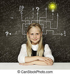 Thinking child girl with question signs and light idea bulb, education concept