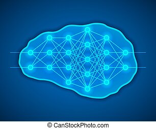 Thinking concept. Brains with neural net inside it. -...