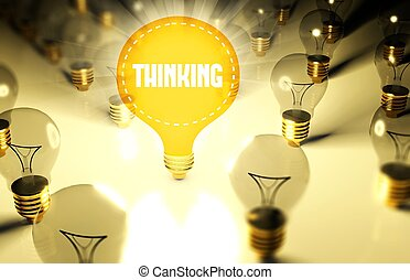 Thinking concept with light bulbs