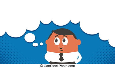 Thinking Copyspace - Cartoon of thinking man with copyspace...