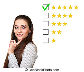 Thinking customer woman choosing five star rating. Good feedback. Isolated on white background