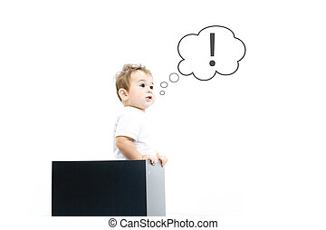 Thinking cute small kid boy with question and exclamation signs in bubbles isolated on white background Smart child. Stress from studying, homework. Education concept.