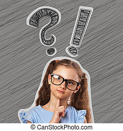 Thinking cute small kid girl in eyeglasses with question and exclamation signs above the head on grey background.