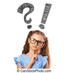 Thinking cute small kid girl in eyeglasses with question and exclamation signs above the head isolated on white background