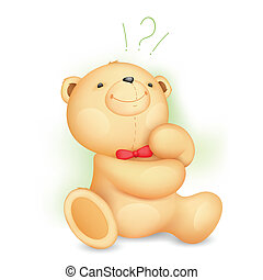 illustration of cute thinking teddy bear with question mark