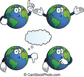 Collection of thinking Earth globes with various gestures.