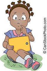 Thinking Girl - Illustration of a Girl Thinking While...