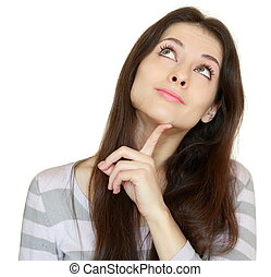 Thinking girl looking up with finger at face with smile isolated on white background. Closeup portrait