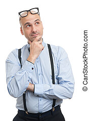 thinking guy with suspenders and bow-tie
