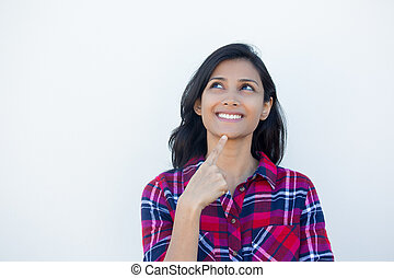 Thinking happy - Closeup portrait, charming upbeat smiling...