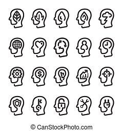 thinking head line icon