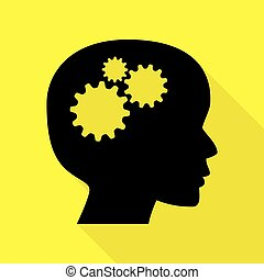 Thinking head sign. Black icon with flat style shadow path on yellow background.
