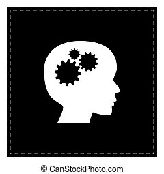 Thinking head sign. Black patch on white background. Isolated.