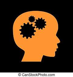 Thinking head sign. Orange icon on black background. Old phosphor monitor. CRT.