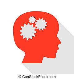 Thinking head sign. Red icon with flat style shadow path.