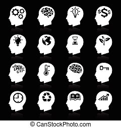Thinking Heads Icons. vector