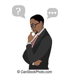 thinking., homem negócios, escolher, pretas, concept., isolado, experiência., branca