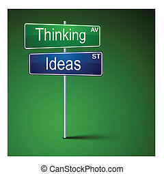 Thinking ideas direction road sign.