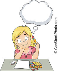Thinking Kid - Illustration of a Girl Thinking About Her Art...