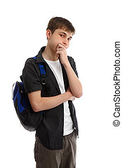 Thinking male student - A male teenage student wearing...