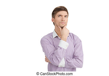 Thinking Man - A man looks up as he thinks about something.