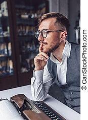 Thinking man at work