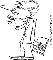 thinking man cartoon coloring page - Black and White Cartoon...