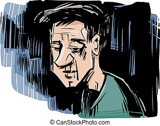 thinking man drawing illustration
