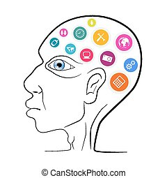 Thinking Man Head Outline Vector Illustration with Technology Icons