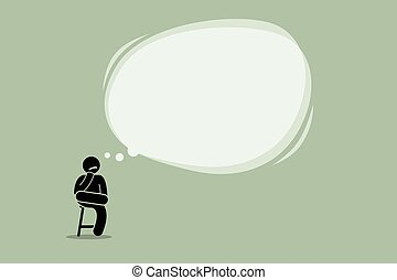 Thinking man sitting on a chair with a big empty bubble...