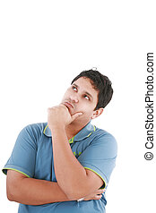 Thinking man isolated on white background. Closeup portrait of a casual young pensive businessman looking up at copyspace