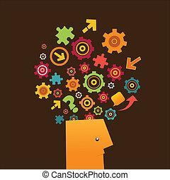 Thinking Man - Man brainstorming and thinking.