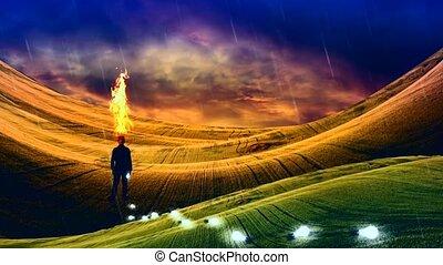 Thinking Man - Rural Landscape. Thinking man loses light ...