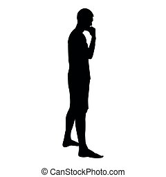 Thinking man standing silhouette Pensive person side view icon black color illustration