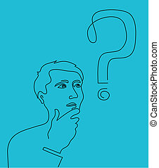 Thinking man with a question mark