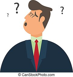 Thinking man with question mark. Businessman wondering and doubting. Businessmen are confused. business character vector illustration.