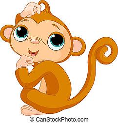Thinking monkey - Cute little monkey scratching his head