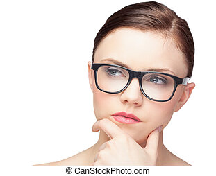 Thinking natural model wearing classy glasses on white...